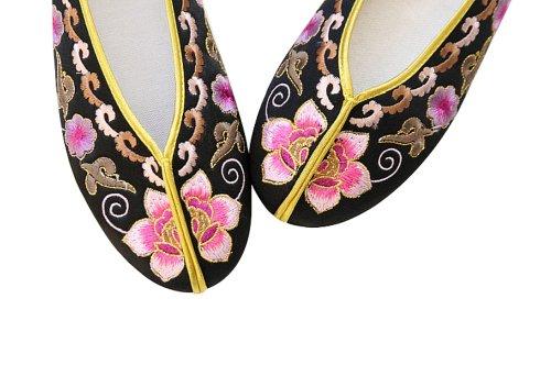 Artisanat Mules en Soie Chaussures Femme Confortables Mocassin Ballerines #112 Noir