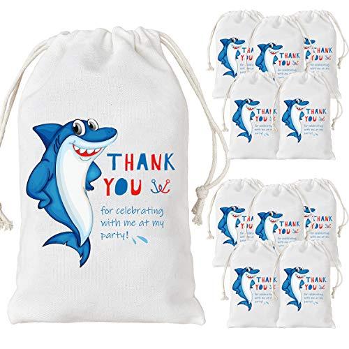 Jollyboom 12er Pack Shark Party Favor Taschen Kordelzug Süßigkeiten Goodie Treat Taschen für Jungen Mädchen Babyparty 1. 2. Geburtstag (Geburtstag Party Favors Junge)