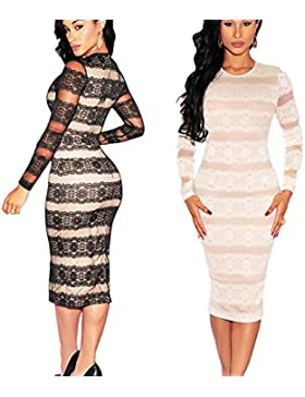 La mujer bodycon Summer Evening Cocktail Party de encaje de manga larga vestido MIDI