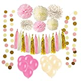 Wartoon 33 Pcs Paper Pom Poms Flowers Tissue Balloon Tassel Garland Polka Dot Paper Garland Kit for Birthday Wedding Party Decorations - Pink and White