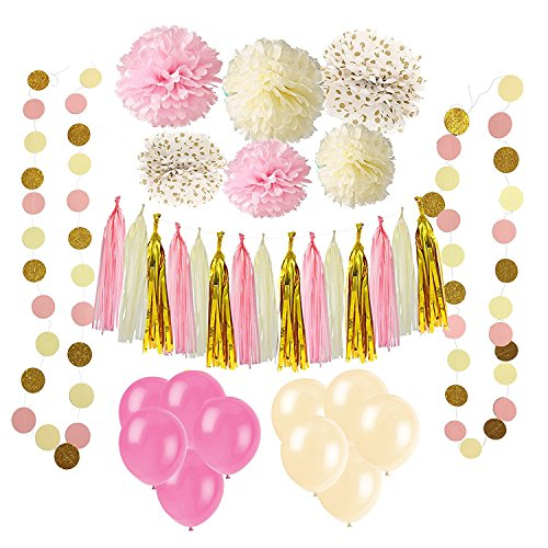 Wartoon 43 Pcs Papel Pom Poms Flores Tissue Globo