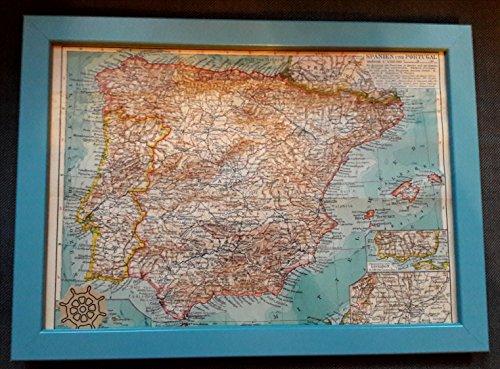 """""""Spanien/Portugal"""" Bild (Atlas Karte Welt) - Reisegeschenk"""