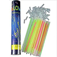 100 pcs Pack Multi-Color Glow Sticks Bulk, Flashing Glow in The Dark Party Supplies Bulk Fluorescent Bracelets Necklaces Light up Toys (20 cm with 100 connectors)