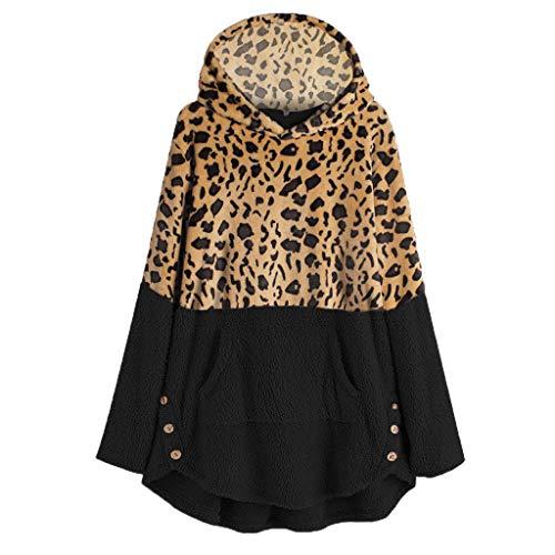 Maleya Große förderung Plus Size Damen Leopard Winter Fleece Langarm Casual Sweater Top Bluse Plaid Oansatz Mit Kapuze Streifen Kapuze Langarm Strickpullover