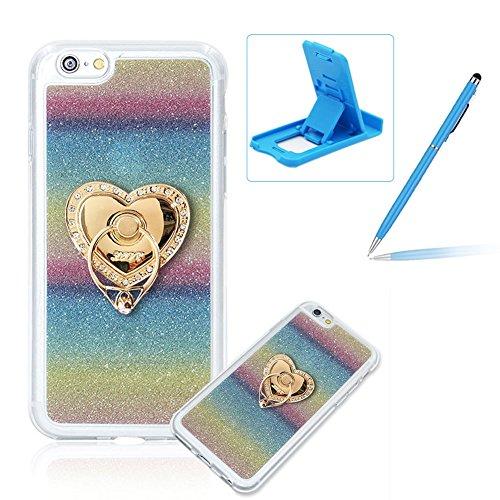 Für iPhone 6 Plus/6S Plus 5.5 Zoll Schrittweise Farbwechsel TPU Cover, Herzzer Bling Glitter Schutz Hülle mit Liebe Herzen Ring Halter, Luxus Sparkles Glänzend Glitzer Silikon Crystal Case Durchsichti Gestreifter Regenbogen Ring Halter