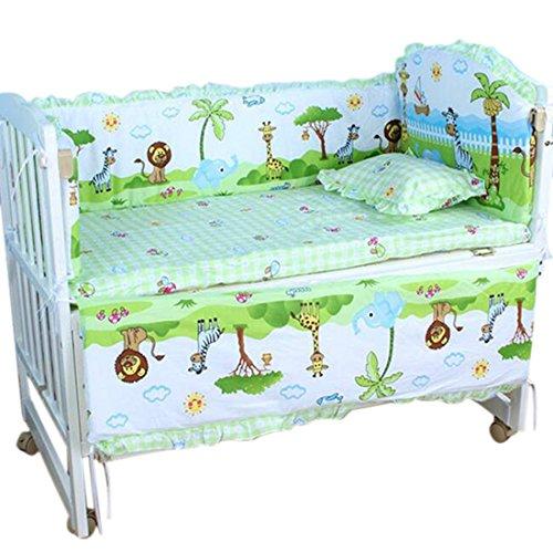 Zhuomei - Juego de cama para cuna, 5 piezas, protección para bebés, para guardería, respaldo/colchón/parachoques largo/parachoques corto/almohada verde verde Talla:S