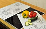 Top Design Ceramic Glass Hob Cover Plate Chopping Boards Glass [Set of 2]