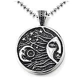 COOLSTEELANDBEYOND Schwarz Silber Halbmond Mond Sonne Stern Universum Himmlisch Kreis Medaille Anhänger Edelstahlkette für Herren Damen