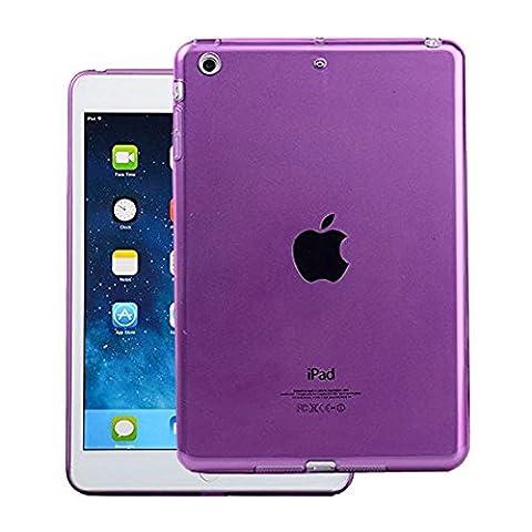 FAS1 iPad Mini Case Cover,NEW Clear Soft TPU Skin Gel Silicone Back Case Protector for Apple iPad Mini 1/2/3 (Purple)