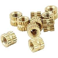 SODIAL M2 x 3mm Cilindro de laton moleteado Roscado Insertar Insertado Nuts 100 unids
