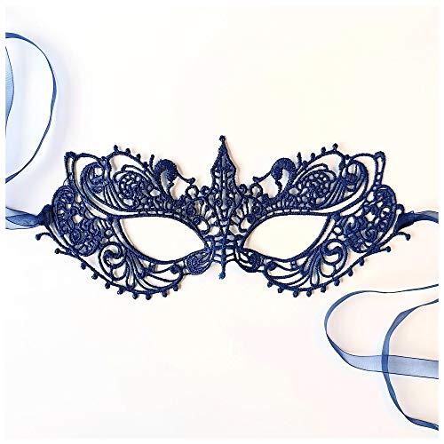 Satin Göttin Kostüm - Samantha Peach Schön Göttin Navy Blau Spitze Maskerade maskenball Maske