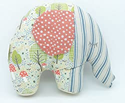 Gisela Graham Vintage Fabric Elephant (Pink Ears)