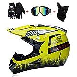 FFairy Motorrad Motocross Motorbike Helme & Gloves & Goggles D.O.T Standard Children Quad Bike ATV Go Karting Helm (S, M, L, XL),L