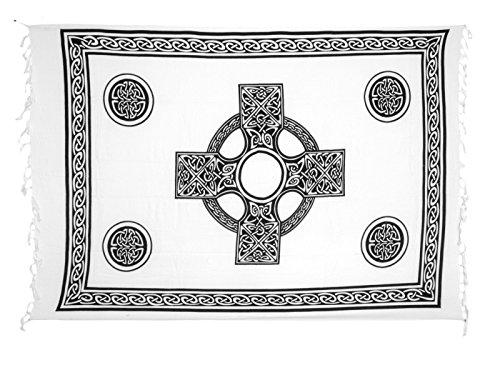 (Sarong Pareo Wickelrock Strandtuch Tuch Wickeltuch Handtuch - Blickdicht - ca. 170cm x 110cm - Weiss mit Keltischen Motiv Handgefertigt inkl. Kokos Schnalle in Runder Form)