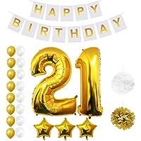Globos Fiesta Cumpleaños #21 Suministros y Decoración por Belle Vous - Set 26 Piezas - Globo Grande Aluminio de 30,5cm 21 Años - Globo de Látex Dorado y Plateado- Decoración Adultos Hombres y Mujeres (Design 5)