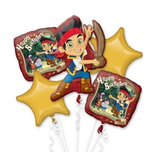 Disney Jake and Pirate Balloon Birthday Party Favor Supplies 5ct Foil Balloon Bouquet by Beyondstore (Jake Y Los Piratas Party Supplies)