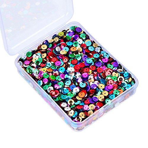 Whaline Bulk lose Pailletten Cup Pailletten irisierende Spangles flache Perlen mit Aufbewahrungsbox für Kunsthandwerk, Nähen, 80 Gramm, 6 ()