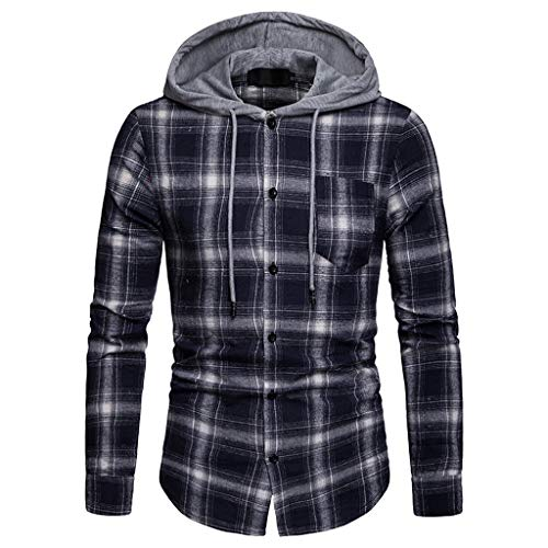 Preisvergleich Produktbild POIUDE Frühling und Herbst Geschäft Gitter Mit Kapuze Freizeit Revers Lange Ärmel Shirt(Marine,  XL)