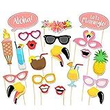 TOAOB Flamingo Hawaii Party Foto Fotorequisiten Fotoaccessoires für Sommer Strand Urlaub Geburtstag Hochzeit Party Kussmünder, Brillen Photo Booth Props Set Packung mit 21 Stück