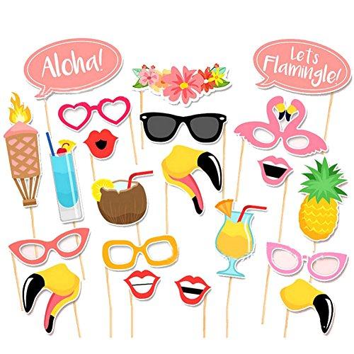 TOAOB Flamingo Hawaii Party Foto Fotorequisiten Fotoaccessoires für Sommer Strand Urlaub Geburtstag Hochzeit Party Kussmünder, Brillen Photo Booth Props Set Packung mit 21 Stück (Urlaub Foto-requisiten)