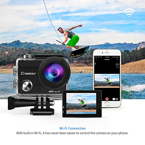 crosstour action cam 4k camera wifi unterwasser kamera. Black Bedroom Furniture Sets. Home Design Ideas