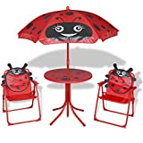 Festnight Kinder Garten-Sitzgruppe Kindersitzgruppe mit 1 Tisch, 2 Stühle und 1 Sonnenschirm Garten Kindermöbel - Rot