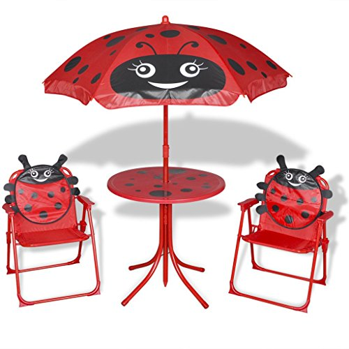 vidaXL 4tlg. Campingstuhl Tisch Sitzgruppe Sonnenschirm Kinder Gartenmöbel Käfer Rot