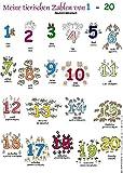 Meine tierischen Zahlen von 1-20. Poster: Deutsch /Albanisch