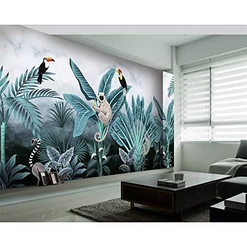 Finloveg Custom Wallpaper Medieval Hand-Painted Tropical Rainforest Flora And Fauna Hd Tv Background Wall Murals 3D Wallpaper-250X175Cm -