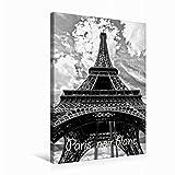 Premium Textil-Leinwand 50 cm x 75 cm hoch Ein Bild von Paris schwarz weiß Kalender | Wandbild, Bild auf Keilrahmen, Fertigbild auf echter Leinwand, Leinwanddruck (CALVENDO Orte)