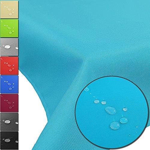 PROHEIM Outdoor Tischdecke Lounge mit Lotuseffekt Tischtuch wasserabweisend Tischwäsche Größen Gartentischdecke pflegeleicht und wetterfest, Größe:160 x 240 cm, Farbe:Aqua -