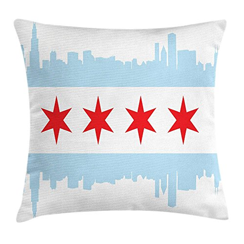 kyline Pillow case City of Chicago Flag with High Rise Buildings Scenery National Throw Pillow Covers 20x20 Inches ()