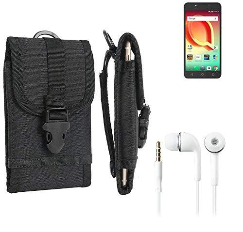 K-S-Trade Schutzhülle für Alcatel A50 Gürteltasche Handyhülle Schutz Hülle Gürtel Tasche Handy Tasche Outdoor Seitentasche schwarz 1x + Kopfhörer