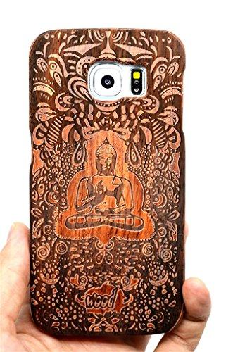 collecte de bois Coque Galaxy S6 Coque de Protection pour Samsung Galaxy S6 (Bois de Rose Bouddha Indien) (TM) Étui de Protection en Bois et Couverture de Téléphone pour Votre Smartphone et Tablette