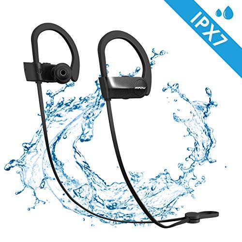Mpow cuffie bluetooth aggiornato d7 ipx7, auricolari impermeabili con microfono aptx, cuffie bluetooth stereo hd con cvc 6.0 da 10-12 ore, auricolari sport fit per iphone, samsung, huawei, sony