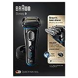 Braun Series 9 9242 s - Afeitadora eléctrica hombre, base de carga y funda para viaje, color negro/azul eloxal