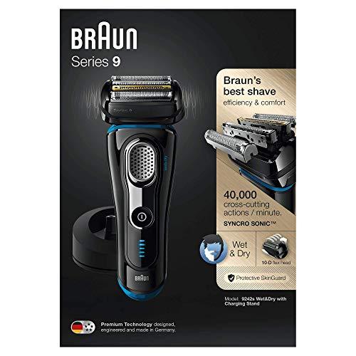Braun Series 9 9242 s - Rasoio Elettrico da Uomo, Base di Ricarica e custodia da Viaggio, colore nero/azzurro