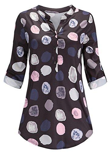 Damen Elegante Punkte Design Bluse Freizeit Lange Ärmel V-Ausschnitt Hemd Lose Chiffon Frauen Tunika Oberteile (Tag 4XL- EU XL, Schwarz)