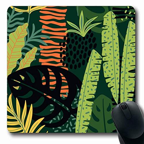 Luancrop Mousepads Dash geometrische abstrakte Tropische Blätter Hand Pflanze Blatt Palm Muster afrikanischen aztekischen Boho Dots rutschfeste Gaming-Mauspad Gummi längliche Matte Palm Dot