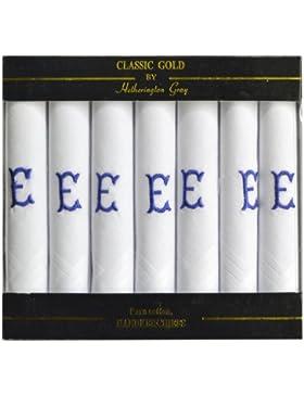 7 Pack De Pañuelos Blanco Satinado Hombres Con Bordes Con Azul Las Iniciales Bordadas, Iniciales Y Varios Para...