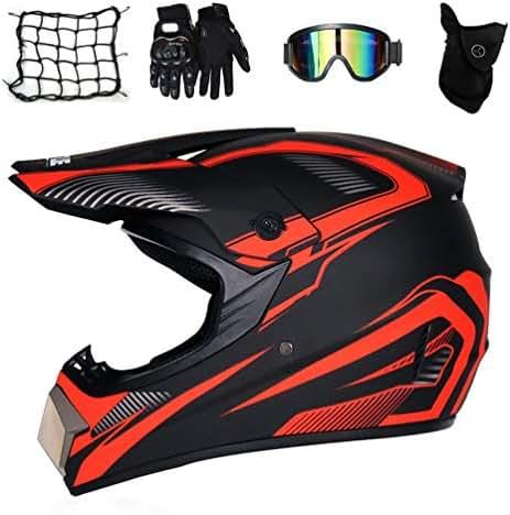 Black UFO Style Motorcycle Cross Helmet Enduro Racing Sport Off-Road Downhill Helmet MX Dirt Bike ATV MTB Quad Motorbike Full-Face Crash Helmet with Goggles Mask Gloves LEENY Motocross Helmet