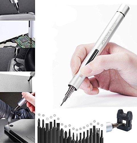 ZIMZIM Feinmechaniker Elektroschrauber Mini Schraubendreher-Set 19-teilig Werkzeugset für PC, Brille, Modellbau, Handy, Laptop (Magnetisierbar, Torque, Schlitz, Kreuzschlitz) Tragbare Tasche