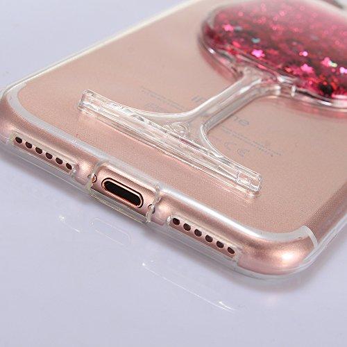 """Flexible Rubber Couverture avec Placage Bord et Briller Scintillement Diamant pour Apple iPhone 7 4.7"""", CLTPY Mignon Couleur Dessin Arrière Anti Scratch Pare-chocs avec Support de Bague pour iPhone 7  Poudre Rose"""