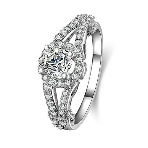 (Custom Ringe)Adisaer Ring Silber 925 Damen Vier Klaue Kristall CZ Hohl Rund Verlobungsring Größe 53 (16.9) Kostenlos Gravur