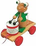 Woodyland 21x 19cm Lehr Spielzeug Pull entlang Frosch mit Trommel
