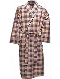 Lloyd Attree & Smith - robe de chambre légère 100% coton brossé - Ecossais beige / bleu marine - homme