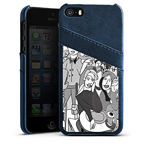Apple iPhone 5s Housse Étui Protection Coque Extrait Ville Vie Étui en cuir bleu marine