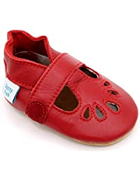 Dotty Fish Soft Leather Baby Shoes. Classic Silver, Red, Navy, Blue & Gold T-Bar Sandals for Girls & Boys. Non Slip Suede Sole. Toddler Shoes. 0-6 to 18-24 Months. Pram Shoes.