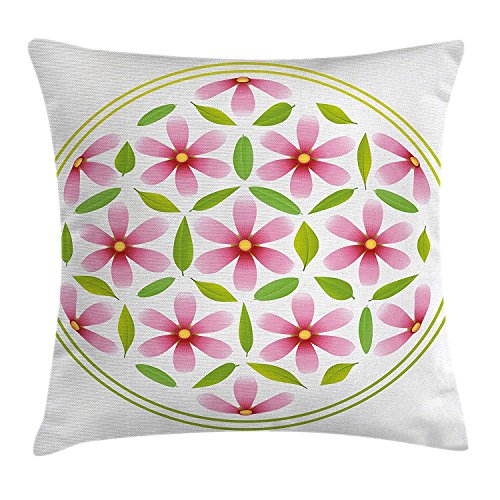 ZTLKFL Floral Throw Pillow Cushion Cover, Flower of Life with Florets and Leaves Inside Circle Cosmos Beauty Image, Decorative Square Accent Pillow Case, 18 X18 Inches, Light Pink Fern Green Light Pink Double Sided Satin