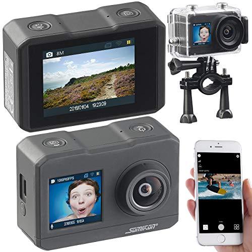 Somikon 4K Action Cam: UHD-Action-Cam mit 2 Displays, WLAN und Marken-Bildsensor, IPX8 (Fahrrad Kamera)